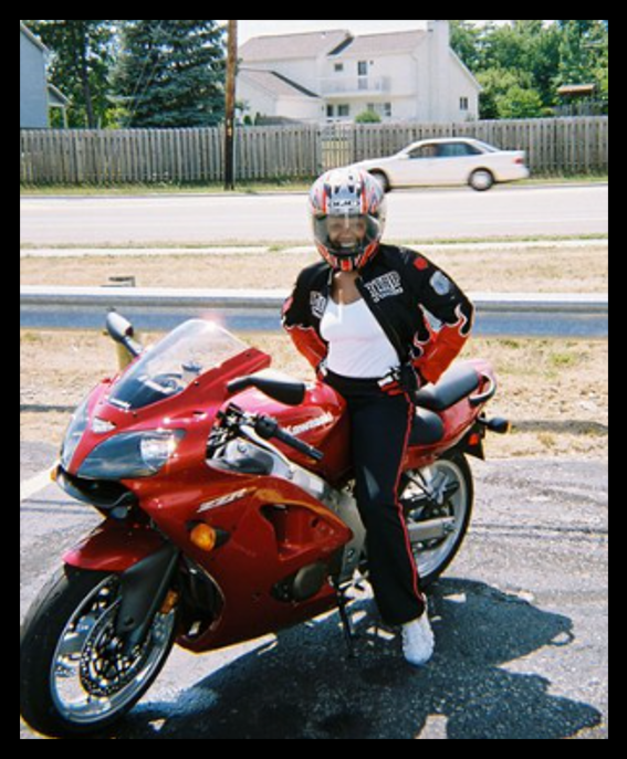 photo of Tiah on her motorcycle